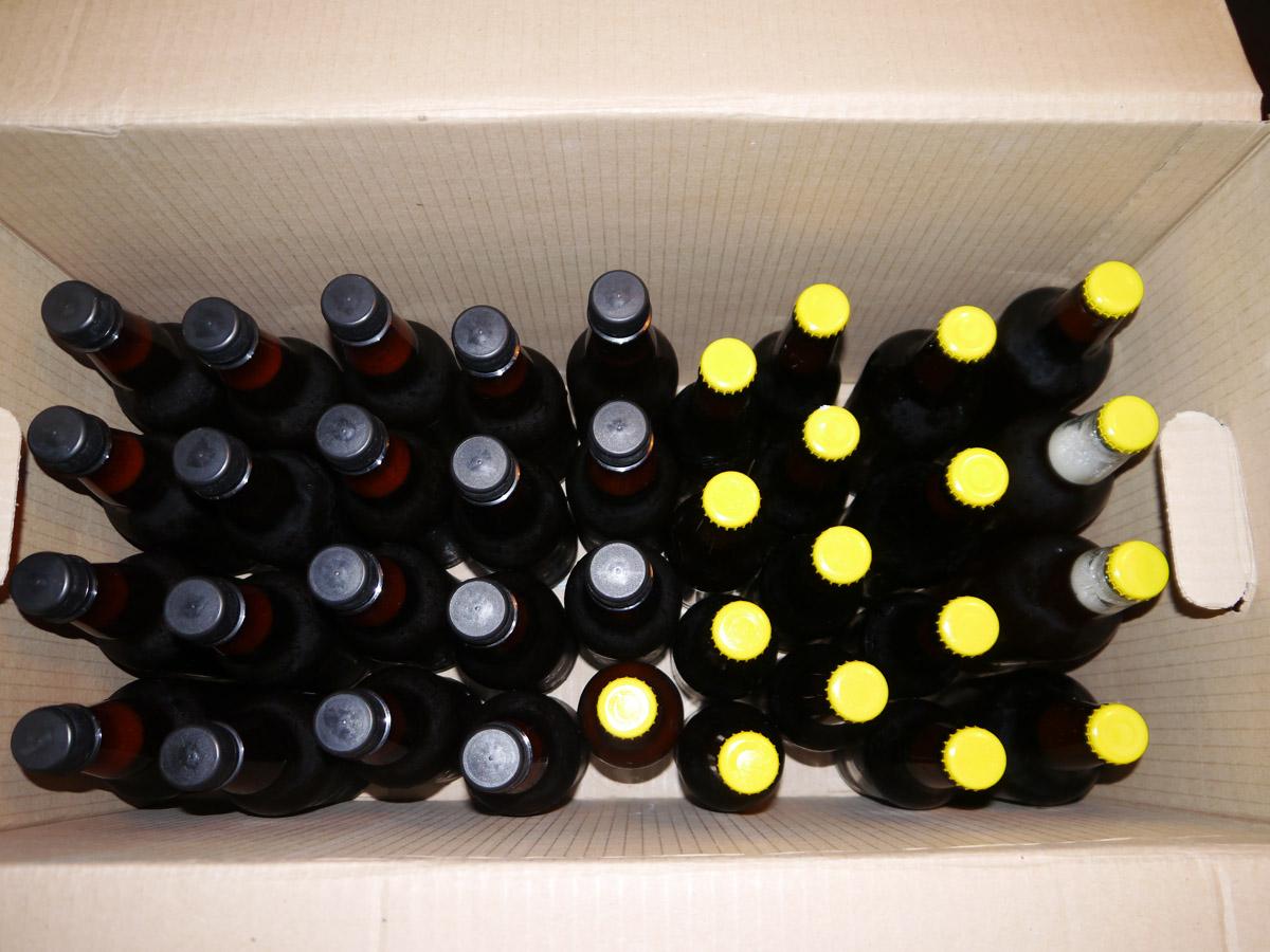 Домашна жива бира - кашон с бутилки