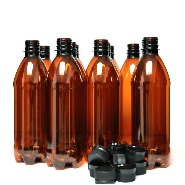 Кафеви ПЕТ бутилки за бира, 500 мл с черни капачки – домашно пивоварство, Направи си бира