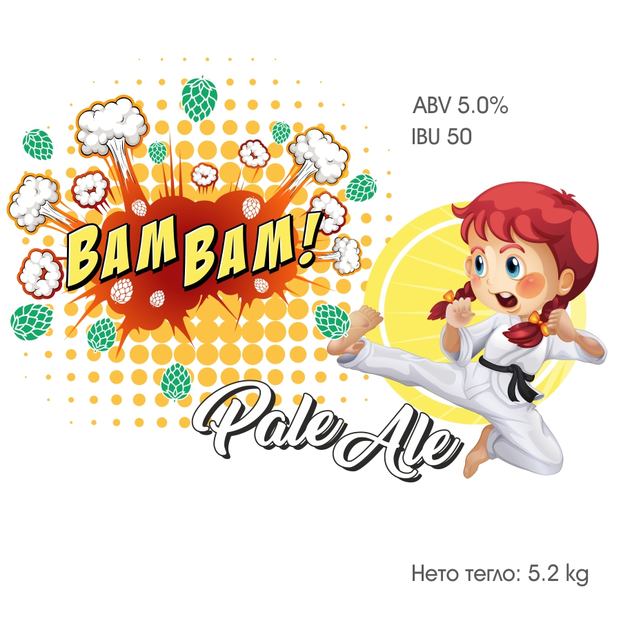 Bam Bam Pale Ale – кит и рецепта за домашна крафт бира, създадена от Робърт Хенри – майстор пивовар в Направи си бира ООД
