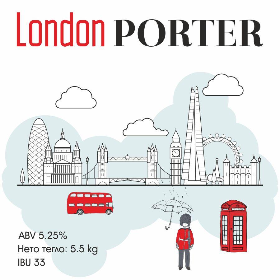 London Porter – кит за варене на крафт бира – класически тъмен портър с продължителен послевкус и усешане за шоколад и кафе