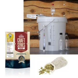 Стартов пакет за ферментация на бира + малцов екстракт и чорапче за сухо охмеляване - Идея за подарък от Направи си бира ООД
