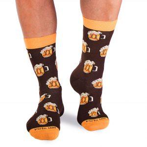 Памучни чорапи с халби бира, кафеви - идея за подарък, Направи си бира ООД