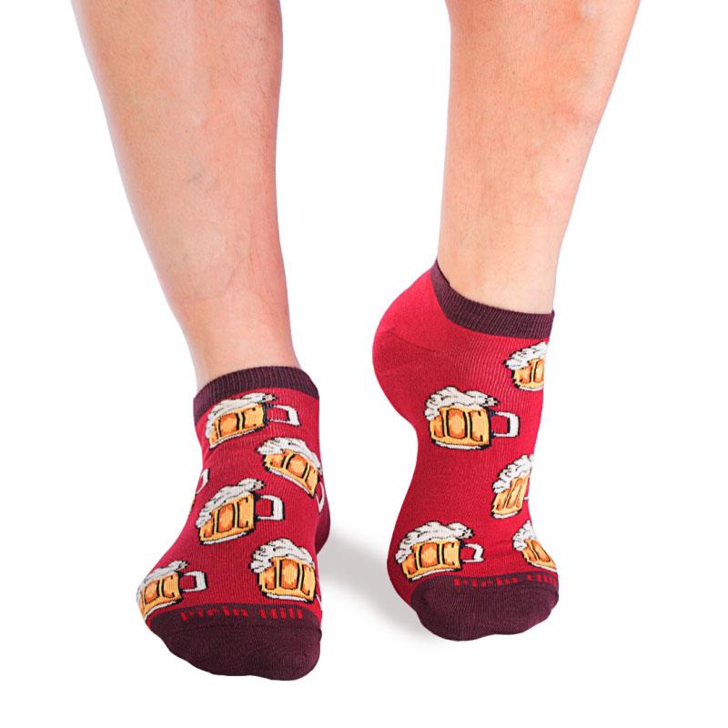 Къси памучни чорапи с халби бира, червени – идея за подарък, Направи си бира ООД