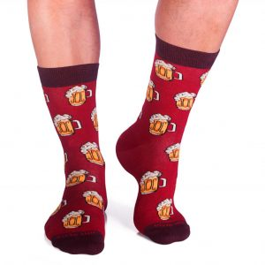 Памучни чорапи с халби бира, червени - идея за подарък, Направи си бира ООД