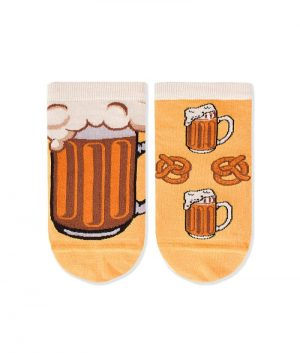Къси чорапи за маратонки с принт бира и прецели - идея за подарък, Направи си бира ООД