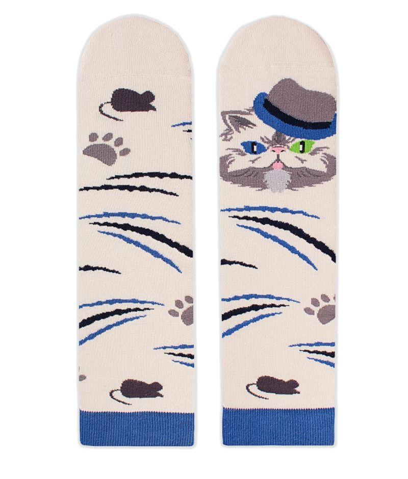Памучни чорапи с котки Persian, меки дамски и мъжки чорапи – идея за подарък, Направи си бира ООД