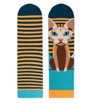 Памучни чорапи с котки Sphynx, меки дамски и мъжки чорапи - идея за подарък, Направи си бира ООД